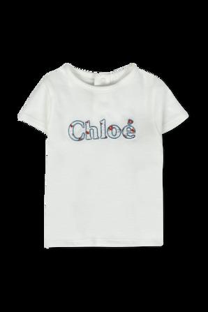 גילאי 6-18 חודשים חולצה קצרה עם לוגו מנצנץ CHLOE KIDS