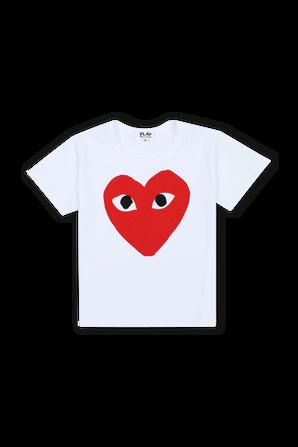 גילאי 2-6 חולצת טי בלבן עם לוגו PLAY אדום COMME des GARCONS KIDS
