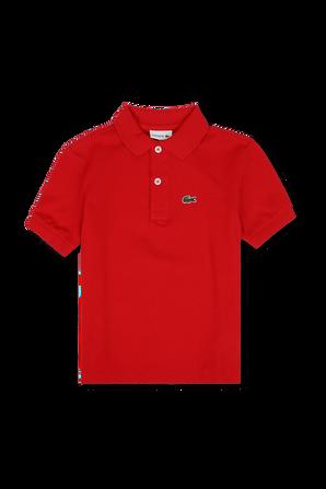 גילאי 2-16 חולצת פולו באדום עם פאץ' לוגו LACOSTE KIDS