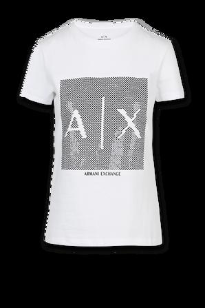 Shiny Logo Shirt in White ARMANI EXCHANGE
