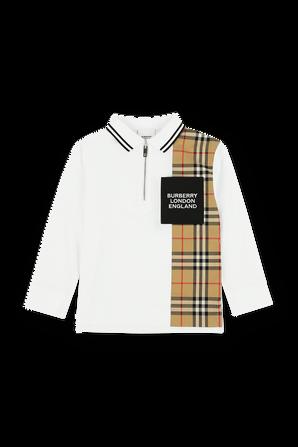 גילאי 3-14 חולצת פולו ארוכה בלבן עם רוכסן BURBERRY