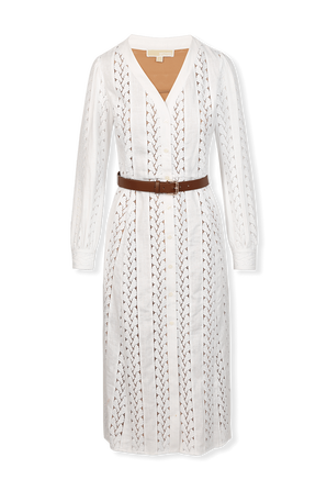 Rope Stripes Midi Dress in White MICHAEL KORS
