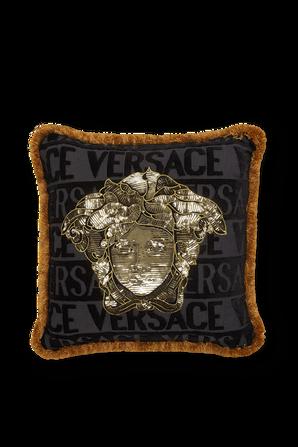 Sequin Medusa Cushion in Black VERSACE