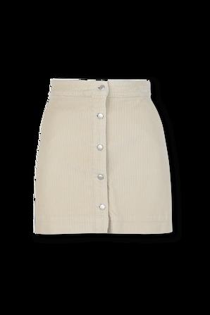 חצאית מיני קורדרוי בצבע שמנת CALVIN KLEIN