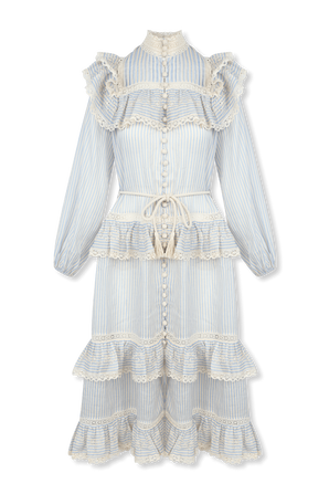 Aliane Lace Frill midi Dress In Blue And White Stripe ZIMMERMANN