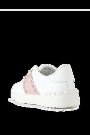 Rockstud Untitled Sneakers in White and Rose VALENTINO GARAVANI