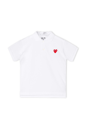 גילאי 2-6 חולצת פולו קצרה עם לוגו לב באדום COMME des GARCONS KIDS