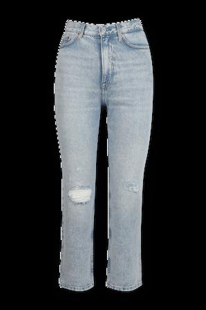 מכנסי ג'ינס ג'ולי ישרים עם פרחים רקומים בשטיפה בהירה TOMMY HILFIGER