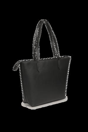 Large Logo Shoulder Bag in Black Eco Leather ARMANI EXCHANGE