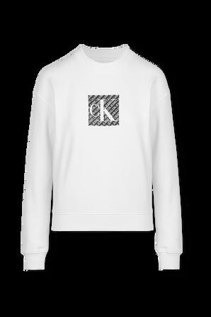Logo Seatshirt in White CALVIN KLEIN