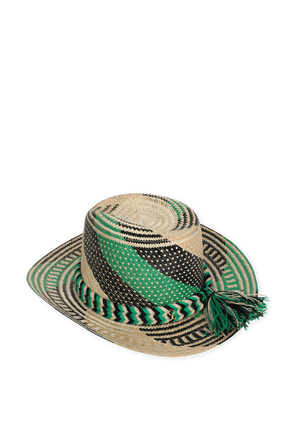 Straw Hat in Brown and Green YOSUZI