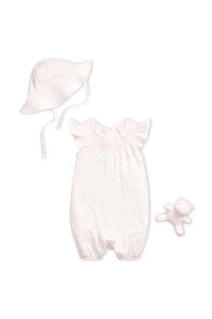 גילאי 3-9 חודשים מארז אוברול, כובע ודובי בורוד בייבי POLO RALPH LAUREN KIDS