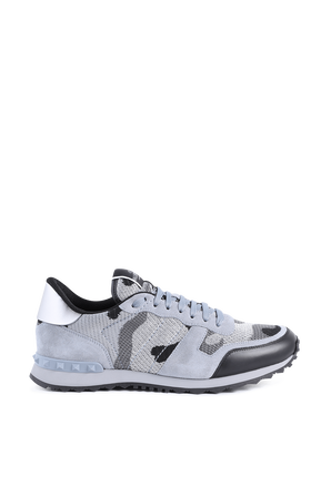 Camouflage Rockrunner Sneakers in Blue VALENTINO