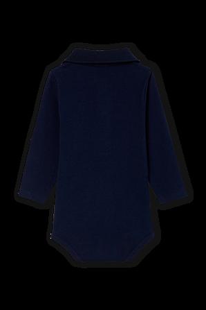 גילאי 0-12 חודשים בגד גוף לוגו בכחול נייבי עם צווארון פולו PETIT BATEAU