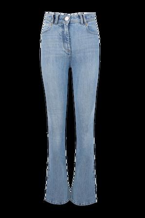 Monogram Details Bootcut Skinnny Jeans in Light Wash BALMAIN