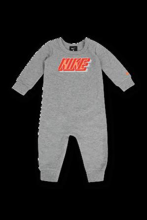 גילאי ניו בורן- 9 חודשים מארז אוברול ממותג עם גרביים בגווני אפור וכתום NIKE