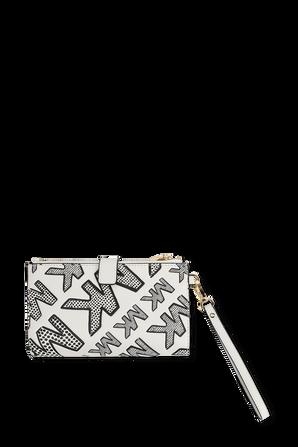 ארנק ג'ט סט מעור בצבע לבן MICHAEL KORS