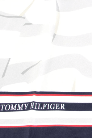 Stripes Logo Silk Scarf in White TOMMY HILFIGER