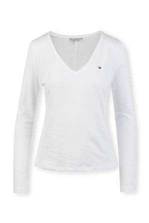 Long Sleeve V-Neck T-Shirt in White TOMMY HILFIGER