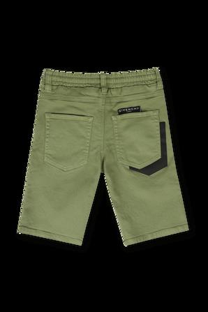 גילאי 6-12 מכנסי דנים בגוון ירוק עם שרוכים GIVENCHY KIDS