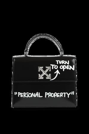 Jitney 1.4 Slogan Print Bag in Black and White OFF WHITE