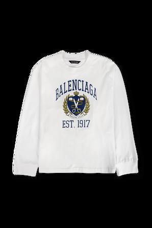 גילאי 4-8 חולצת טי עם שרוולים ארוכים בצבע לבן BALENCIAGA KIDS