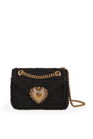 Medium Crochet Raffia Devotion Bag in Black DOLCE & GABBANA