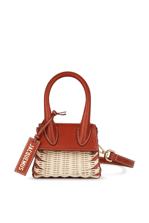 Le Chiquito Mini Leather and Wicker Bag in Dark Red JACQUEMUS