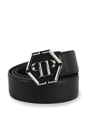 Leather Belt Hexagon in Black PHILIPP PLEIN
