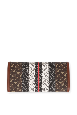 Monogram Stripe Brown E canvas Continental Wallet BURBERRY