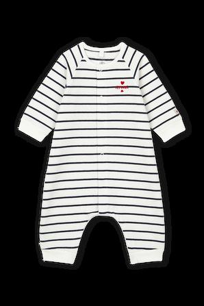 גילאי 0-18 חודשים אוברול פוטר ארוך מכותנה אורגנית בגנון מלחים PETIT BATEAU