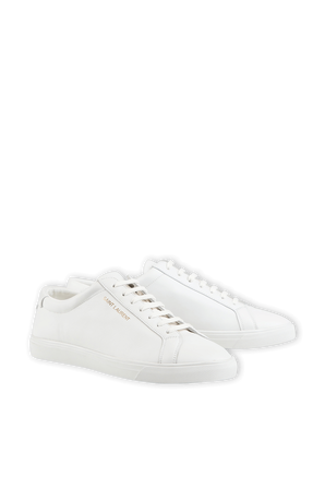 Andy Low Top Leather Sneakers in White SAINT LAURENT
