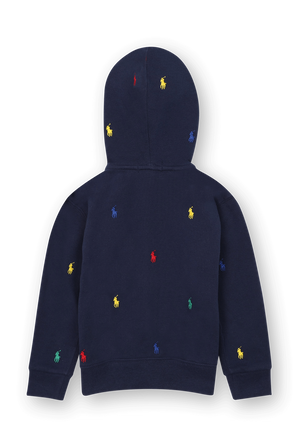 גילאי 2-4 סווטשירט קפוצ'ון כחול עם לוגו צבעוני רקום POLO RALPH LAUREN KIDS