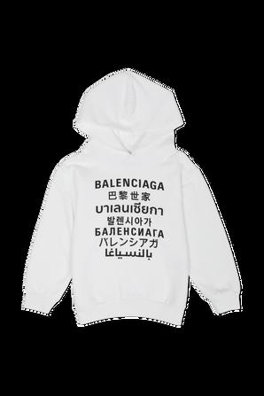 גילאי 2-10 סווטשירט לוגו שפות בלבן BALENCIAGA KIDS