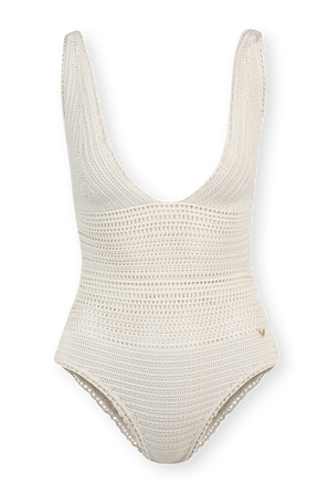 One-Piece Crochet Swimsuit in Ivory VALENTINO