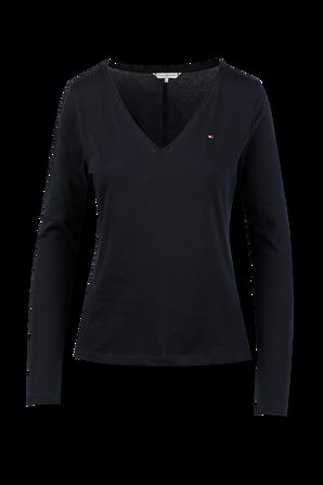 Long Sleeve V-Neck T-Shirt in Dark Blue TOMMY HILFIGER