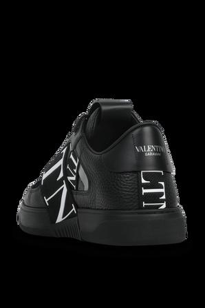 Strap Logo Low Top Sneakers in Black VALENTINO