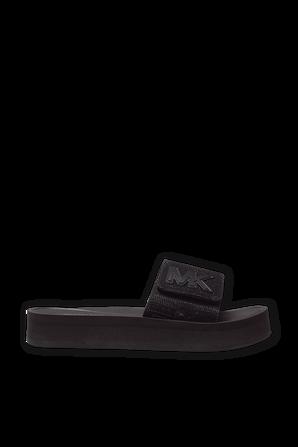 Glitter Platform Slide Sandal In Black MICHAEL KORS