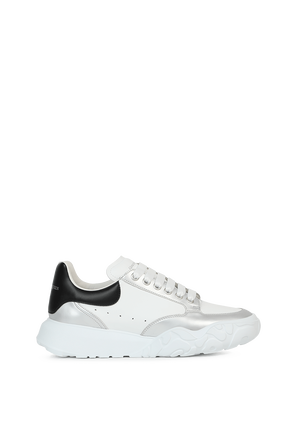New Court Sneakers in White and Silver ALEXANDER MCQUEEN