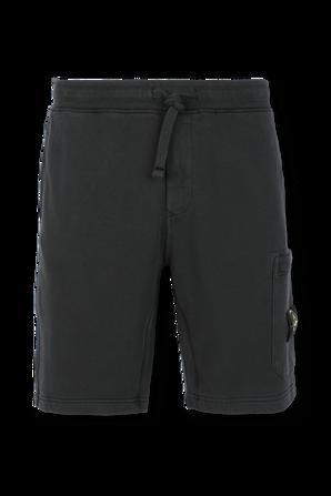 מכנסיים קצרים עם לוגו צידי בגוון שחור STONE ISLAND