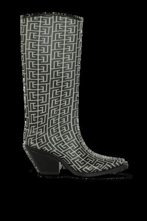 Long Monogram Boots in Black and White BALMAIN