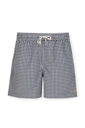 Plaid Swim Trunk in Blue and White POLO RALPH LAUREN