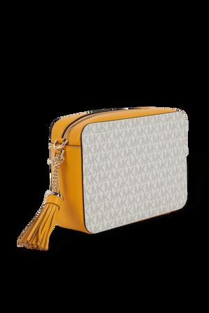 Ginny Medium Logo Crossbody Bag in Ivory and Orange MICHAEL KORS