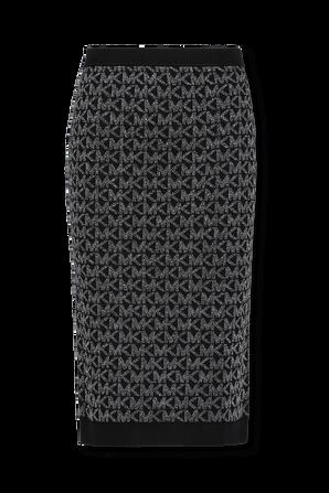 Metallic Logo Jacquard Pencil Skirt in Black MICHAEL KORS