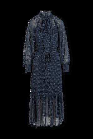 Polka Dot Crepe Georgette Midi Dress in Blue MICHAEL KORS