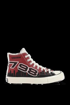 Chuck 70 Hi Garnet Black Egret Punch Sneaker CONVERSE