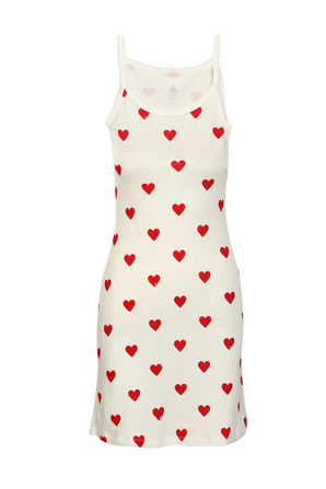 Iconic Heart Print Strappy Dress in White PETIT BATEAU