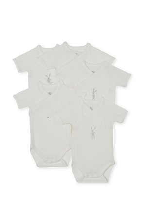 גילאי NB-12 חודשים חמישיית בגדי גוף קצרים בפרינט ארנבון PETIT BATEAU