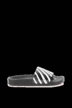 Diagonal Stripes Sliders in Black and White OFF WHITE