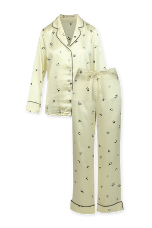 Lila Silk Pyjama in Cream OLIVIA VON HALLE